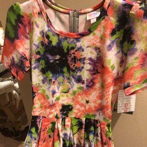 LulaRoe Tie Dye Amelia dress UNICORN